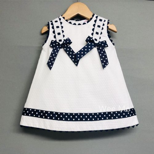 *SALE* Beautiful Wee Me Baby Girl Spanish Dress with Navy Polka Dots